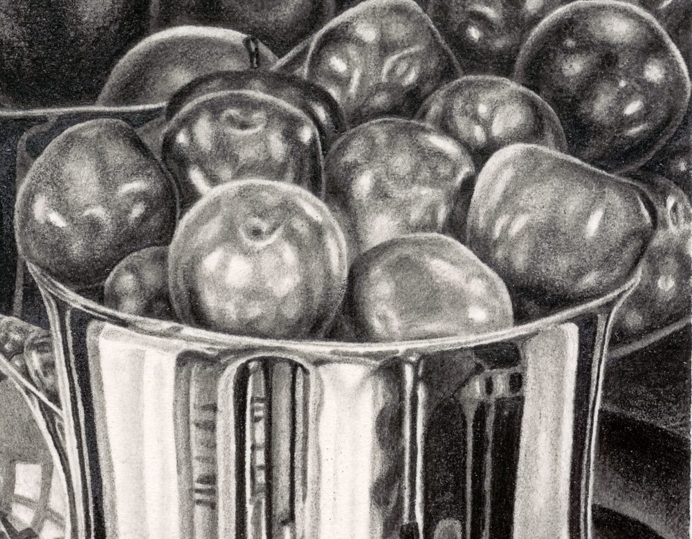 INTERIORS, detail of apples and reflection