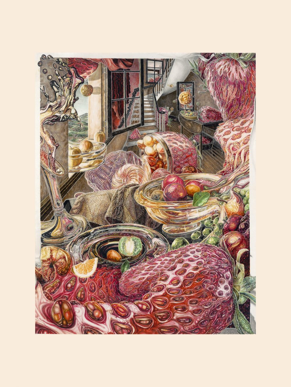 RIPE art print, view with provided soft colored border
