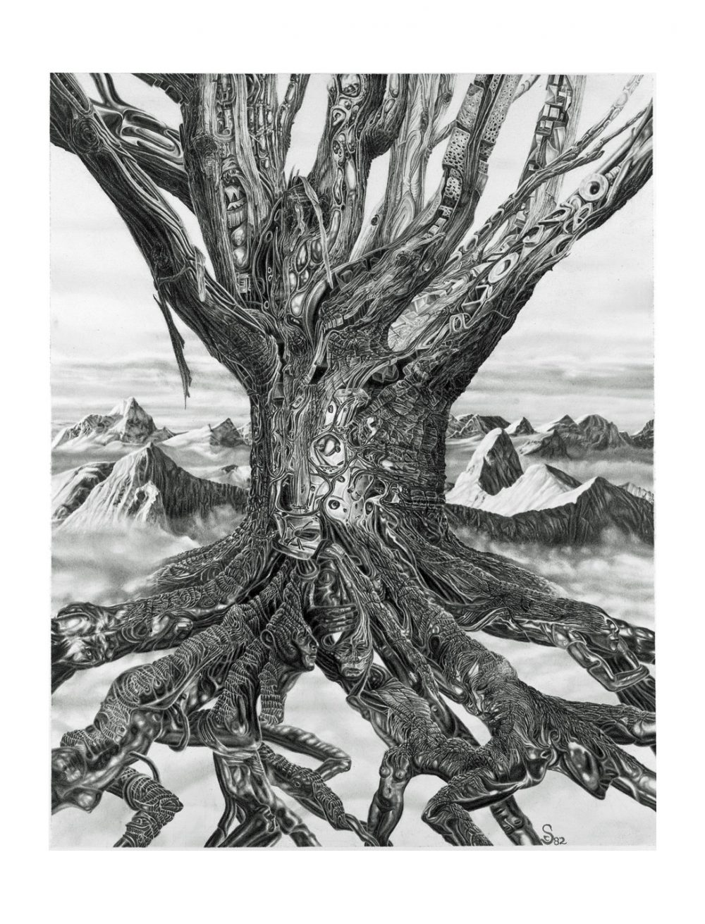 """TREE, art print shown formatted on 12"""" wide by 16"""" high sheet"""