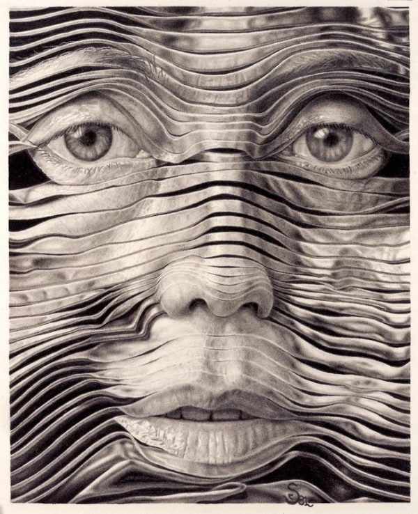 SELF PORTAIT is graphite drawing drawing of a man in strips