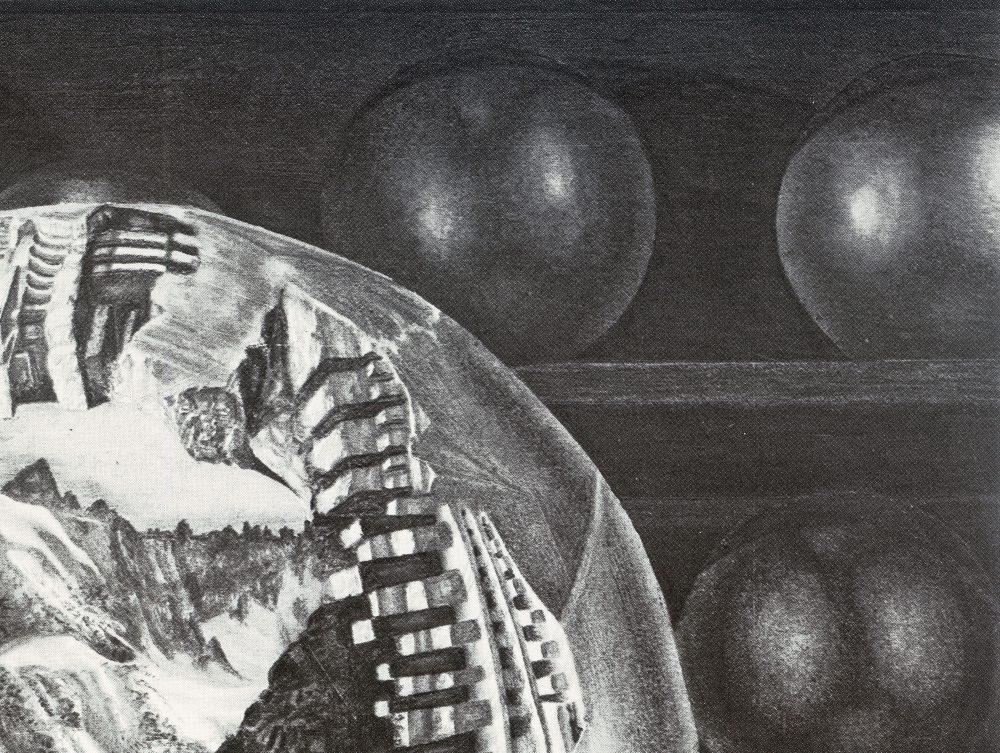 EGGS, detail of spheres on shelf