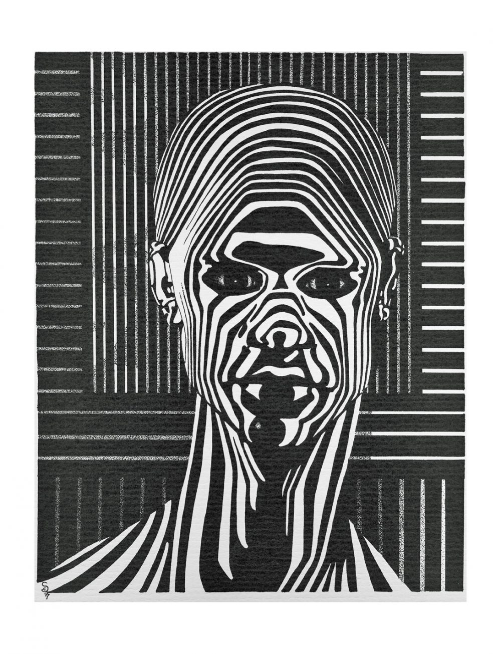STRIPES is a pen & ink drawing portrait of a man shown in black & white stripes