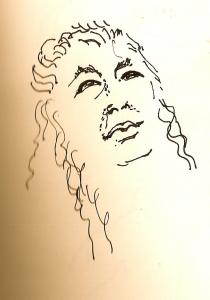 pen & ink portrait drawing of Janet Eigner
