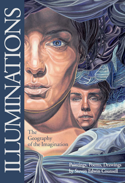 """Award winning cover of book """"ILLUMINATIONS The Geography of the Imagination by Steven E. Counsell"""